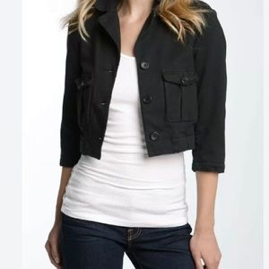 James Perse Black Cropped Military Jacket